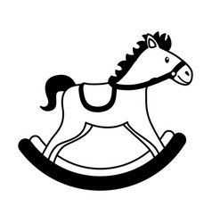 horse wooden toy isolated icon vector image