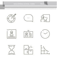 Education and school outline icon collection vector