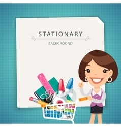 Blue stationary background with female manager vector