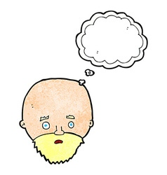 Cartoon shocked man with beard with thought bubble vector