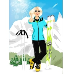 Pretty blonde woman standing with mountain skis vector