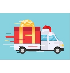 Delivery transport truck van with gift box vector