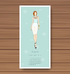 August hand drawn fashion models calendar 2016 vector