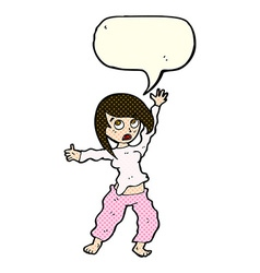 Cartoon frightened woman with speech bubble vector