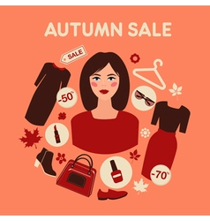 Shopping autumn sale in flat design with woman vector