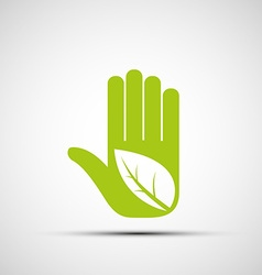 Logo of the human hand with a leaf vector