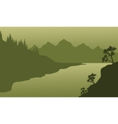Landscape river and mountain of silhouette vector