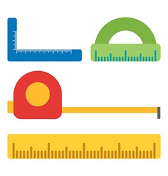 Measurment tools flat isolated on white flat icons vector
