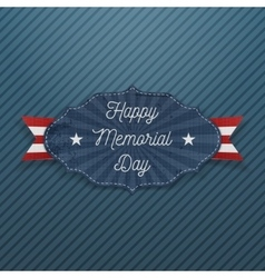 Happy memorial day patriotic label with text vector