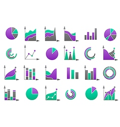 Charts coloured icons set vector