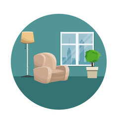 armchair pot plant floor lamp window urban view vector image