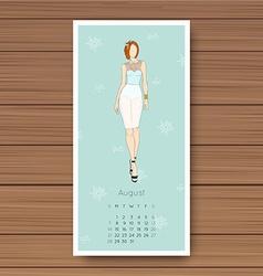 August hand drawn fashion models calendar 2016 vector