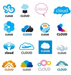big set of logos cloud vector image