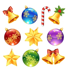 bright christmas decorations vector image