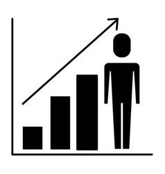 businessman with diagram arrow growth finance vector image
