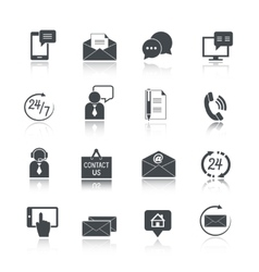 Contact us service icons set vector