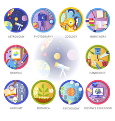 Education and science disciplines for school or vector