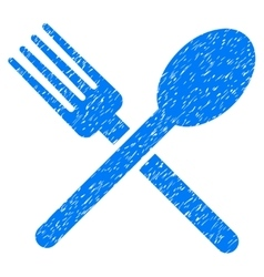 Fork and spoon grainy texture icon vector