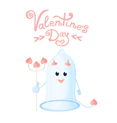 Funny condom with horns and a trident greeting vector