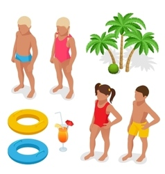 Girl and boy in a bathing suit palm tree life vector