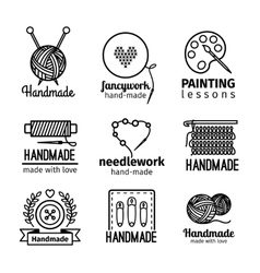 Handmade workshop thin line logo set vector