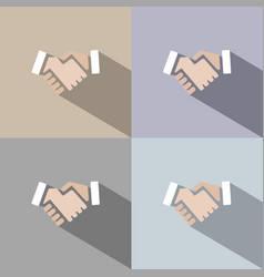 Handshake icon with shadow on colored backgrounds vector