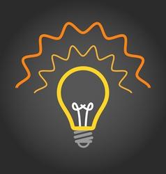 Lighting light bulb on dark background vector image vector image