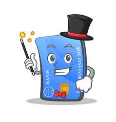 Magician credit card character cartoon vector