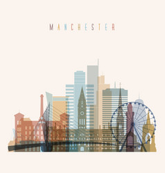 Manchester skyline detailed silhouette vector
