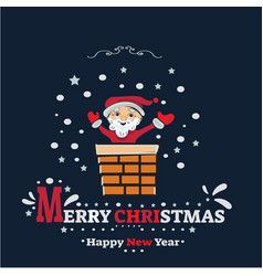 merry christmas banner santa claus stuck in the vector image vector image