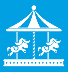 Merry go round horse ride icon white vector