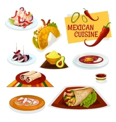 Mexican cuisine traditional spicy dishes icon vector