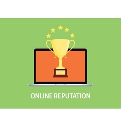 Online reputation with laptop vector