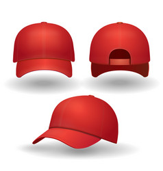 realistic red baseball cap set vector image vector image