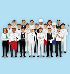 restaurant team characters in uniform group of vector image