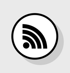 Rss sign flat black icon in vector