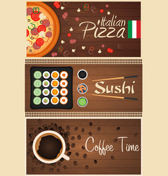 set banners pizza sushi and coffee vector image vector image