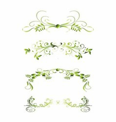 Set of green floral decoration elements vector