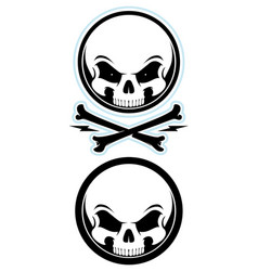 skull in circle with crossbones vector image