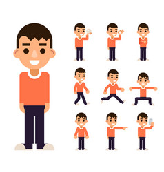 Teen boy in different poses and actions characters vector