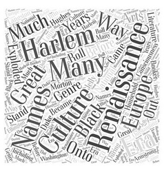 The harlem renaissance word cloud concept vector