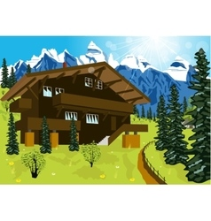 Wooden chalet in mountain alps vector