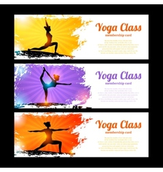 Yoga banner set vector