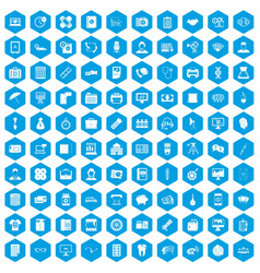 100 department icons set blue vector
