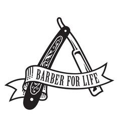 Barber for life design vector