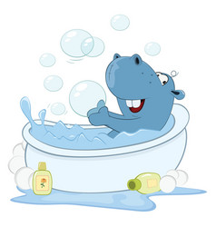 Cute little hippo cartoon vector