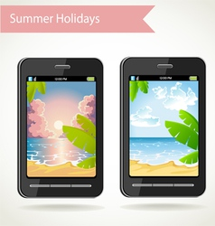 Phone with a photo of sunset palm trees and beach vector