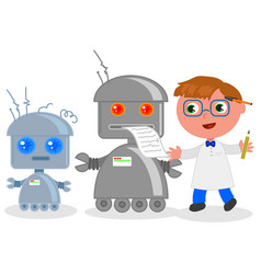 Cartoon inventor with robots vector