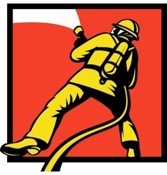 Firefighter or fireman aiming a fire hose vector