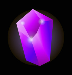 Shiny purple natural crystal with luminescent vector